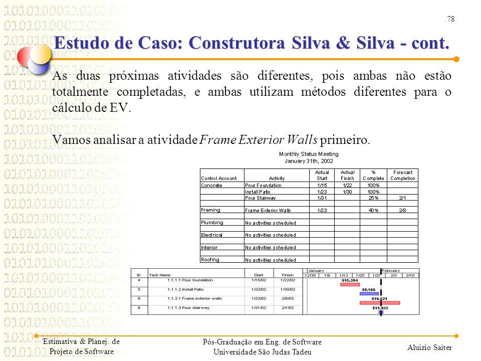 78 Aluizio Saiter Pós-Graduação em Eng. de Software Universidade São Judas Tadeu As duas próximas atividades são diferentes, pois ambas não estão tota