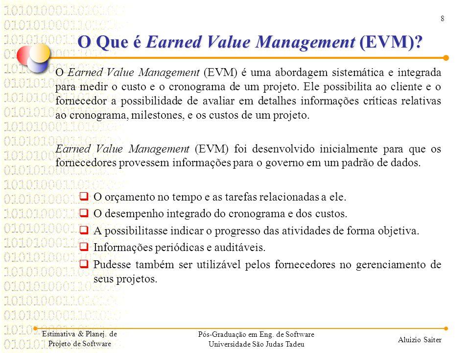 8 Aluizio Saiter O Que é Earned Value Management (EVM)? O Earned Value Management (EVM) é uma abordagem sistemática e integrada para medir o custo e o