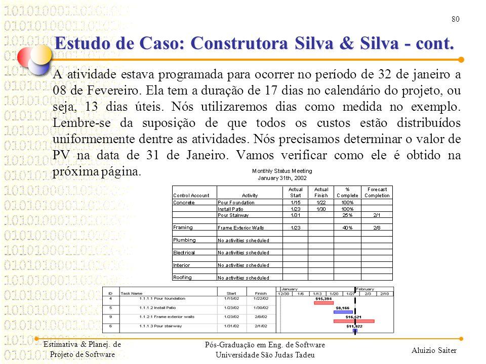 80 Aluizio Saiter Pós-Graduação em Eng. de Software Universidade São Judas Tadeu A atividade estava programada para ocorrer no período de 32 de janeir