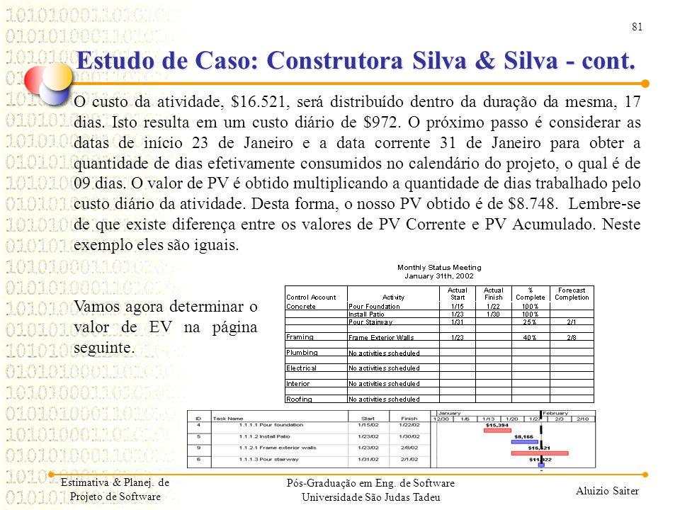 81 Aluizio Saiter Pós-Graduação em Eng. de Software Universidade São Judas Tadeu O custo da atividade, $16.521, será distribuído dentro da duração da