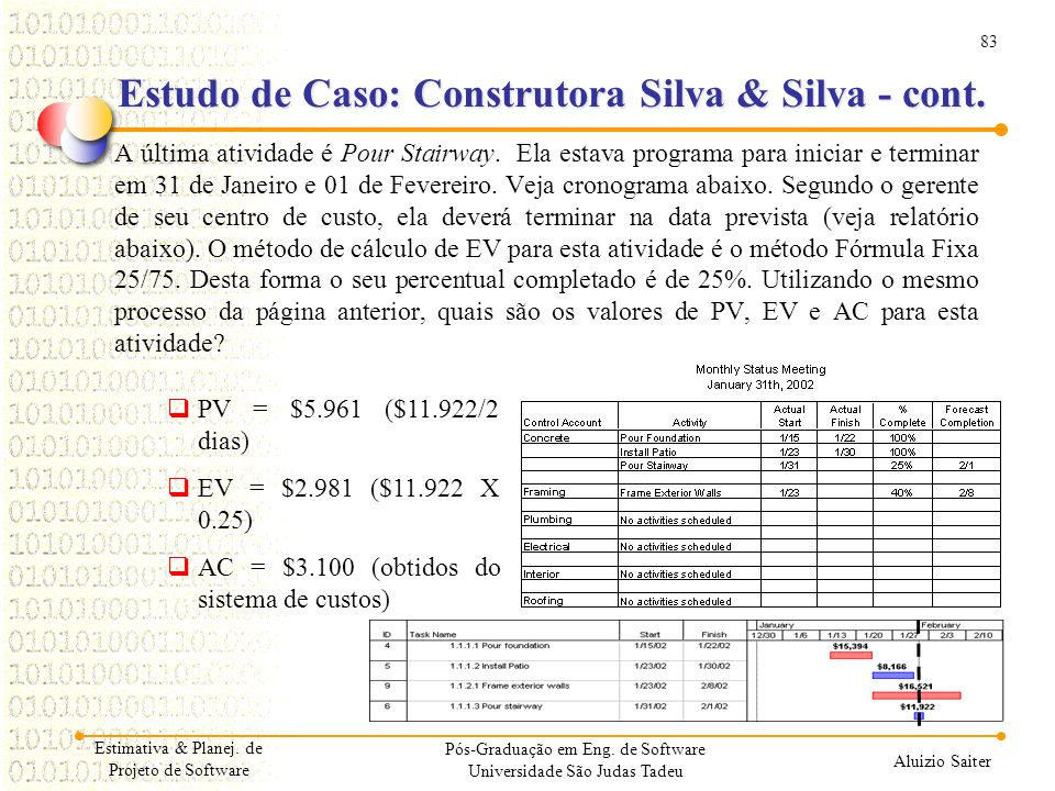 83 Aluizio Saiter Pós-Graduação em Eng. de Software Universidade São Judas Tadeu A última atividade é Pour Stairway. Ela estava programa para iniciar