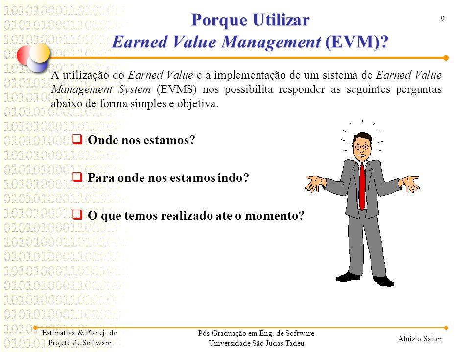 9 Aluizio Saiter Porque Utilizar Earned Value Management (EVM)? A utilização do Earned Value e a implementação de um sistema de Earned Value Managemen