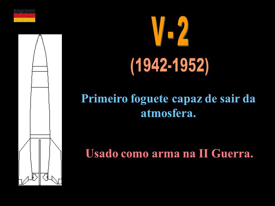 Primeiro foguete capaz de sair da atmosfera. Usado como arma na II Guerra.