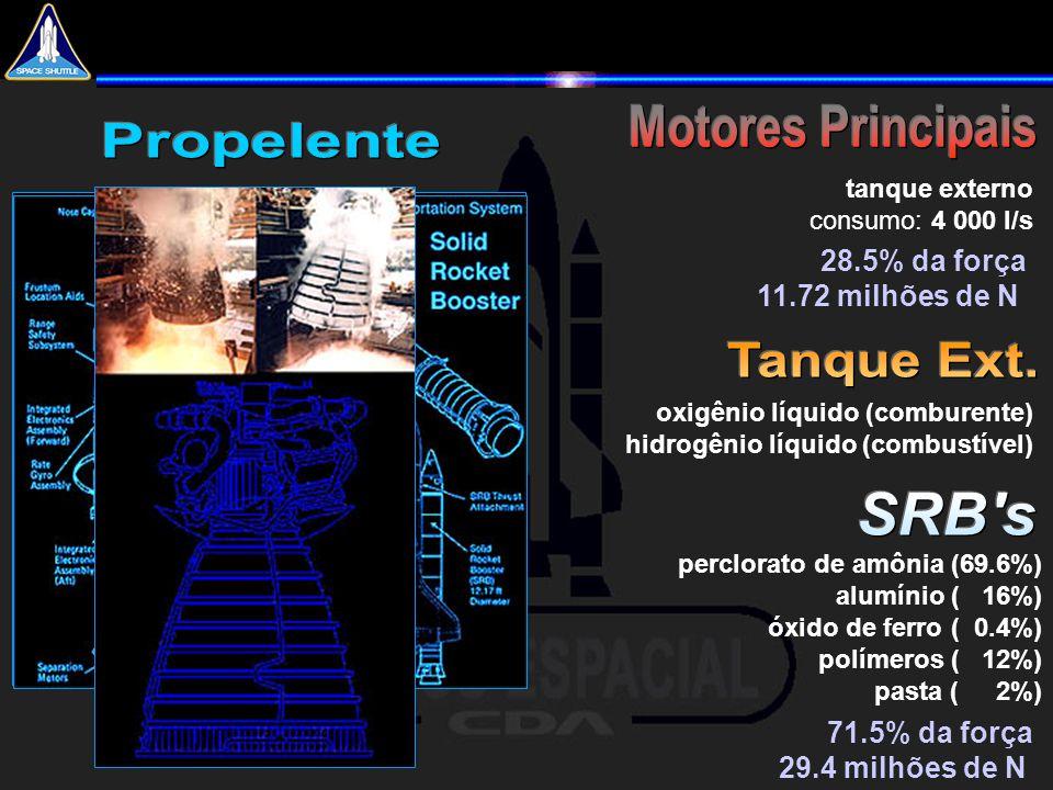 perclorato de amônia (69.6%) alumínio ( 16%) óxido de ferro ( 0.4%) polímeros ( 12%) pasta ( 2%) oxigênio líquido (comburente) hidrogênio líquido (com