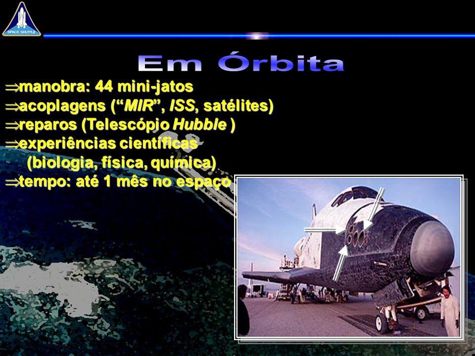 """ manobra: 44 mini-jatos  acoplagens (""""MIR"""", ISS, satélites)  reparos (Telescópio Hubble )  experiências científicas (biologia, física, química) """