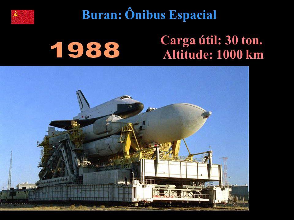 Buran: Ônibus Espacial Carga útil: 30 ton. Altitude: 1000 km