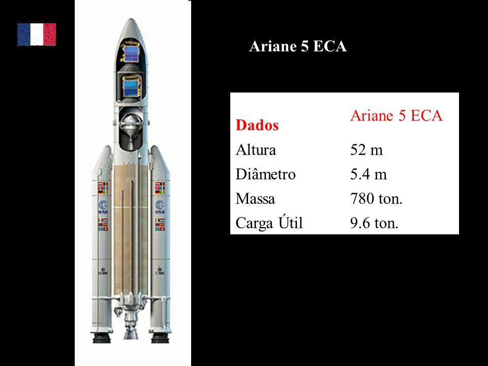 Ariane 5 ECA Dados Ariane 5 ECA Altura52 m Diâmetro5.4 m Massa780 ton. Carga Útil9.6 ton.