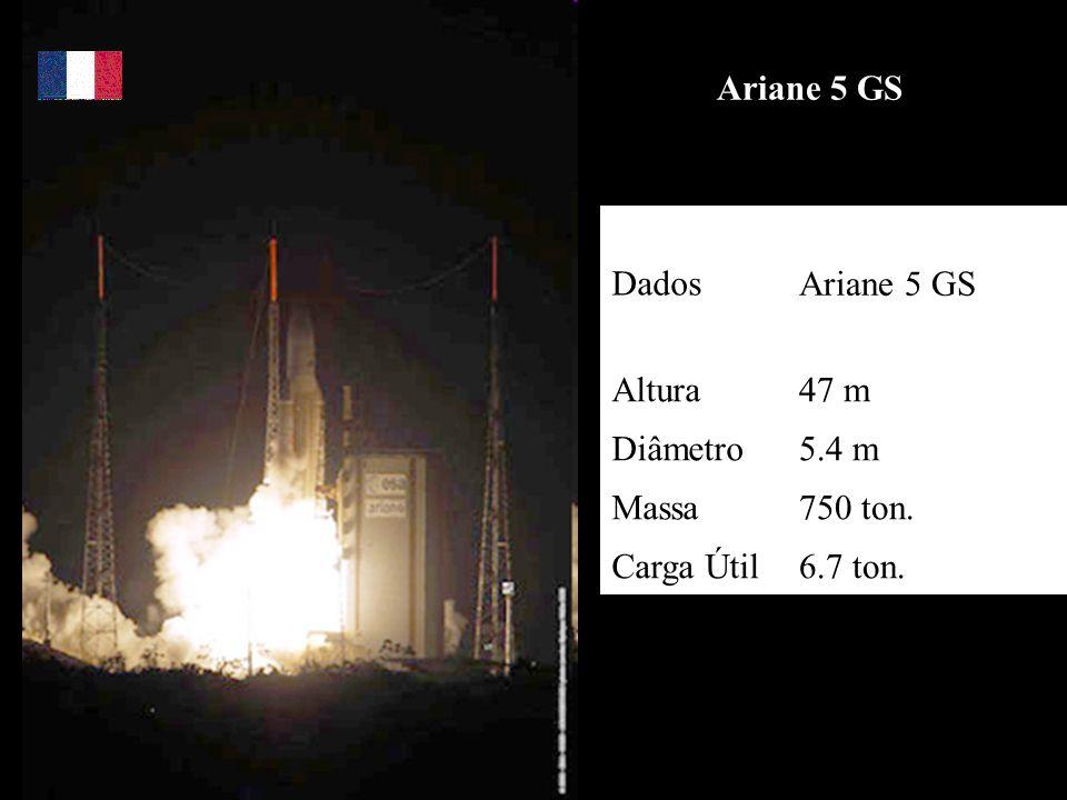 Ariane 5 GS DadosAriane 5 GS Altura47 m Diâmetro5.4 m Massa750 ton. Carga Útil6.7 ton.