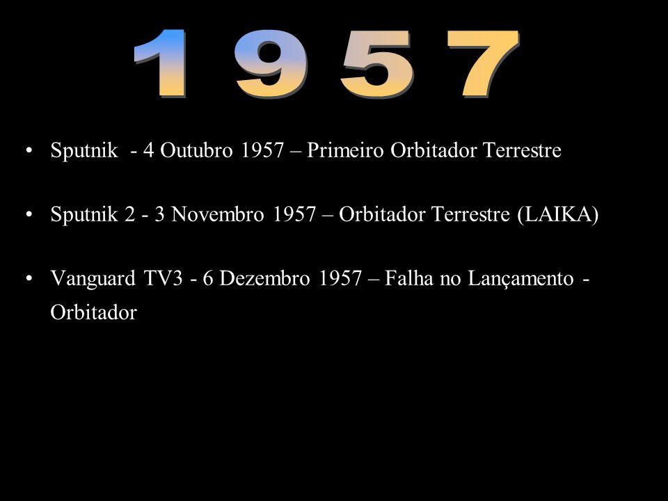 •Sputnik - 4 Outubro 1957 – Primeiro Orbitador Terrestre •Sputnik 2 - 3 Novembro 1957 – Orbitador Terrestre (LAIKA) •Vanguard TV3 - 6 Dezembro 1957 –