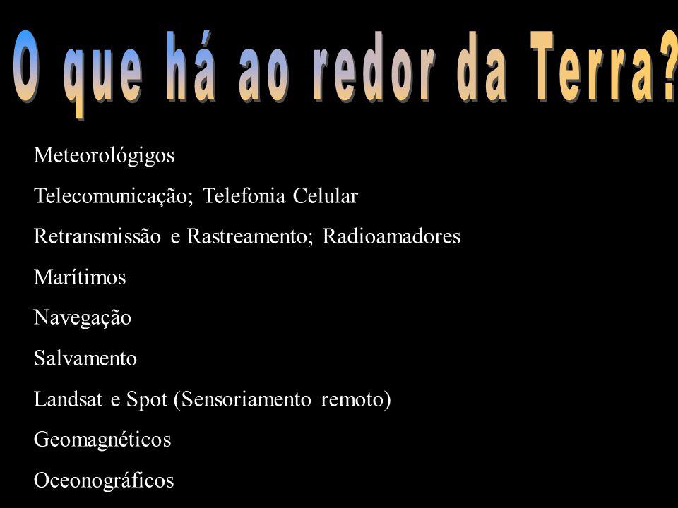 Meteorológigos Telecomunicação; Telefonia Celular Retransmissão e Rastreamento; Radioamadores Marítimos Navegação Salvamento Landsat e Spot (Sensoriam