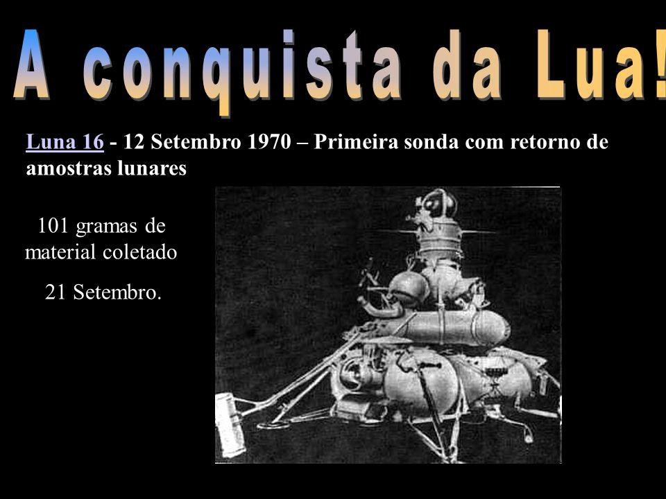 Luna 16Luna 16 - 12 Setembro 1970 – Primeira sonda com retorno de amostras lunares 101 gramas de material coletado 21 Setembro.