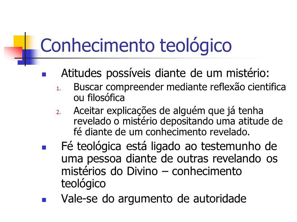 Conhecimento teológico  Atitudes possíveis diante de um mistério: 1. Buscar compreender mediante reflexão cientifica ou filosófica 2. Aceitar explica
