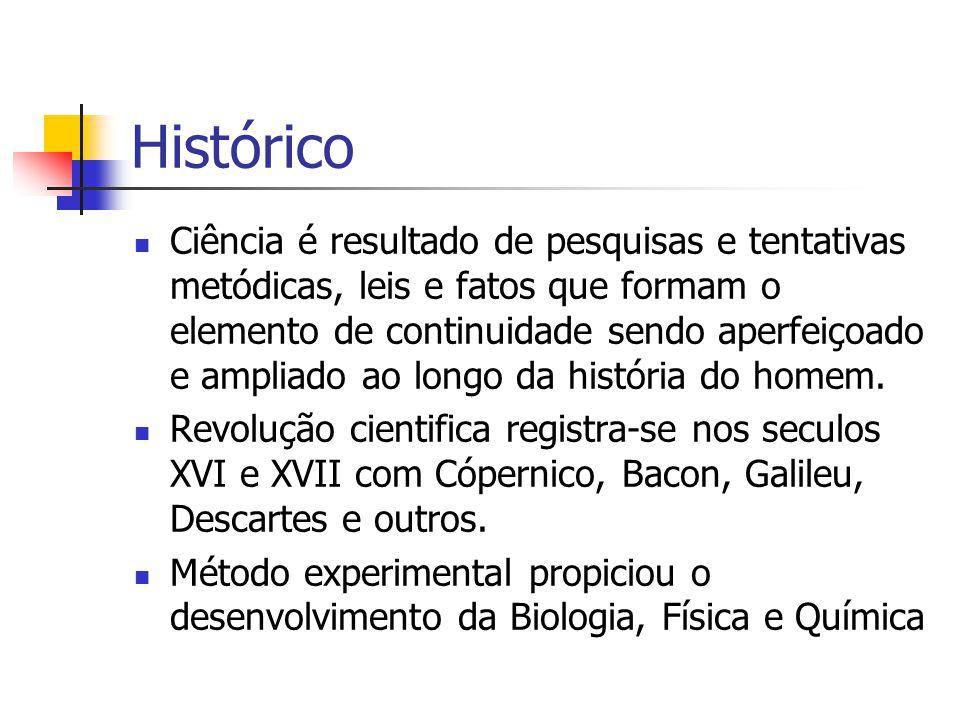 Histórico  Ciência é resultado de pesquisas e tentativas metódicas, leis e fatos que formam o elemento de continuidade sendo aperfeiçoado e ampliado