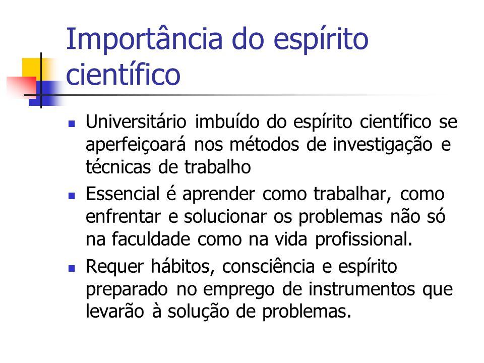 Importância do espírito científico  Universitário imbuído do espírito científico se aperfeiçoará nos métodos de investigação e técnicas de trabalho 