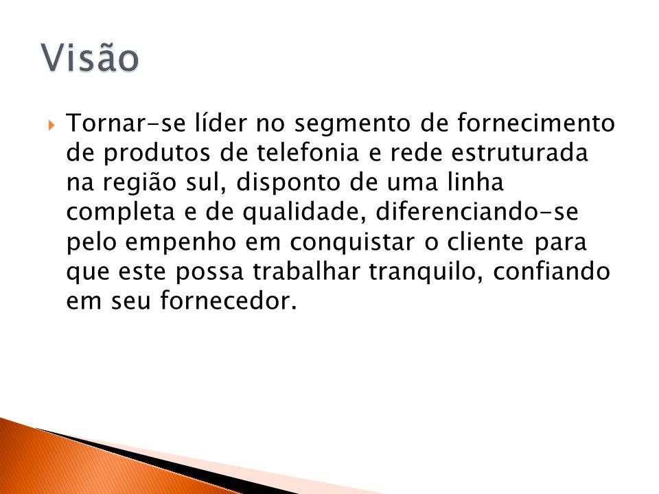  Tornar-se líder no segmento de fornecimento de produtos de telefonia e rede estruturada na região sul, disponto de uma linha completa e de qualidade
