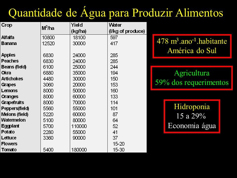 Quantidade de Água para Produzir Alimentos 478 m 3.ano -1.habitante América do Sul Agricultura 59% dos requerimentos Hidroponia 15 a 29% Economia água
