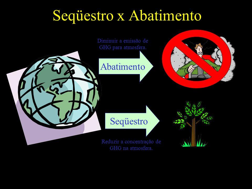 Abatimento Seqüestro Diminuir a emissão de GHG para atmosfera.