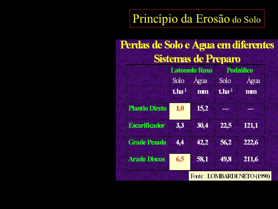 Impacto do preparo convencional associado a monocultura na perda da Matéria Orgânica do Solo em regiões sob clima temperado, sub-tropical e tropical Anos de cultivo 0 0 50 100 50 0 0 Perda de C (%) Canadá – EUA 48 a 58 % (trigo) Campbell & Souster, 1982 Mann, 1985 Latitude 42° N 0 0 10 Anos de cultivo Ponta Grossa - PR 35 % (Soja-Trigo) Sá et al., 2001 Latitude 25° S Anos de cultivo 0 0 5 5 Cerrado – GO; MT 35 a 69 % (Soja) Resck, 1998 Seguy & Bouzinac, 2002 Latitude 13° S 1% aa 3,5% aa 7 a 13,8 % aa