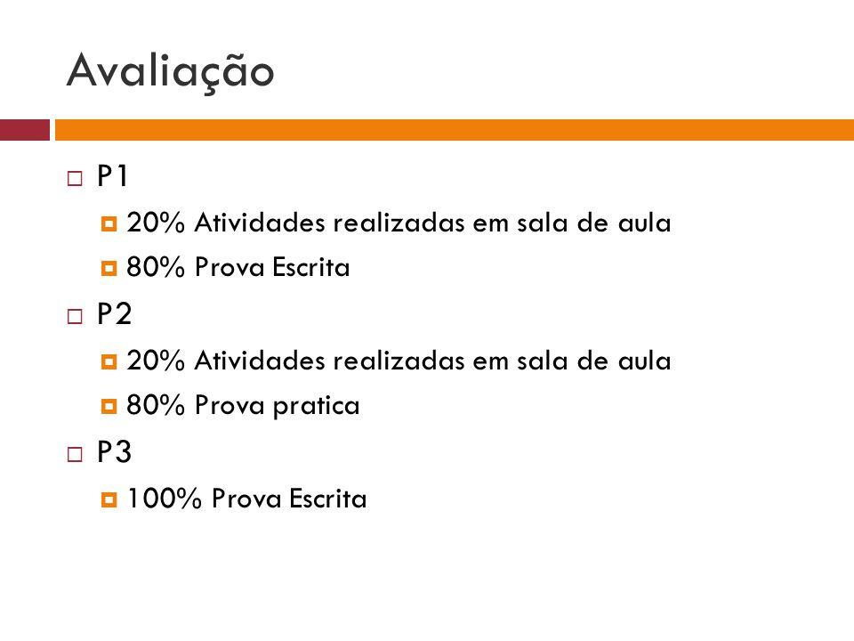 Avaliação  P1  20% Atividades realizadas em sala de aula  80% Prova Escrita  P2  20% Atividades realizadas em sala de aula  80% Prova pratica  P3  100% Prova Escrita