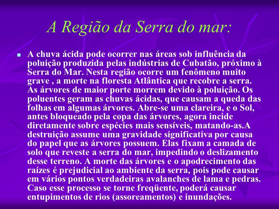 A Região da Serra do mar:   A chuva ácida pode ocorrer nas áreas sob influência da poluição produzida pelas indústrias de Cubatão, próximo à Serra d