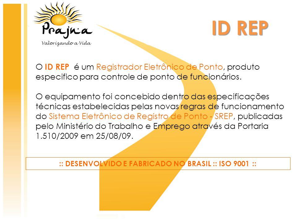 O ID REP é um Registrador Eletrônico de Ponto, produto especifico para controle de ponto de funcionários. O equipamento foi concebido dentro das espec