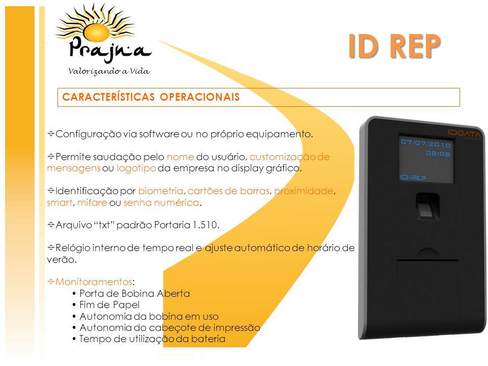 ID REP CARACTERÍSTICAS OPERACIONAIS  Configuração via software ou no próprio equipamento.  Permite saudação pelo nome do usuário, customização de me