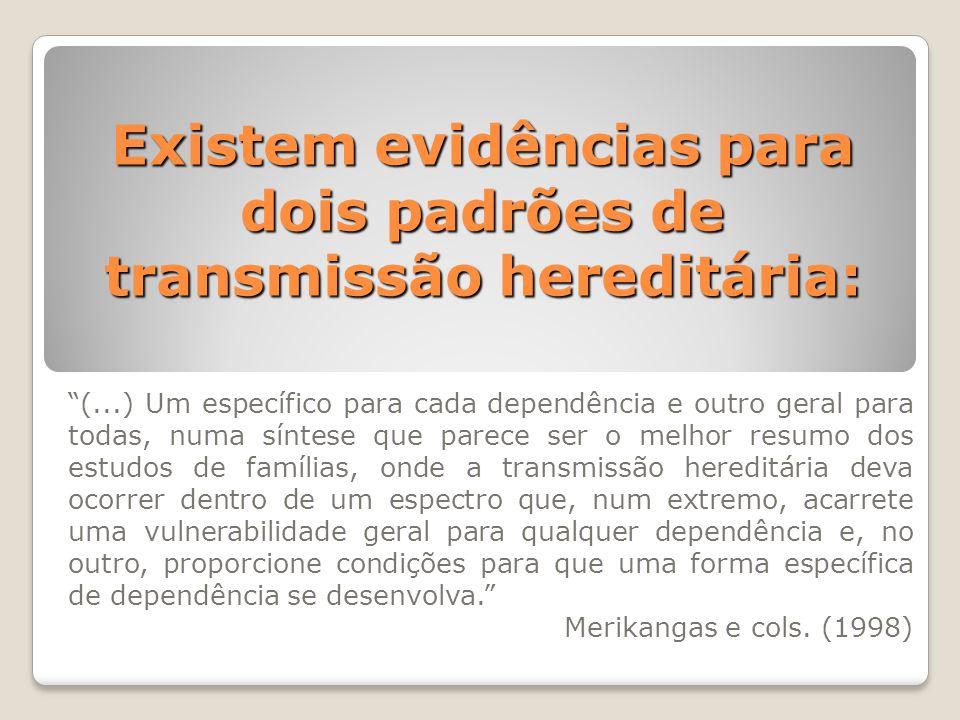 """Existem evidências para dois padrões de transmissão hereditária: """"(...) Um específico para cada dependência e outro geral para todas, numa síntese que"""