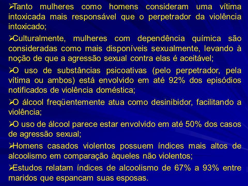  Tanto mulheres como homens consideram uma vítima intoxicada mais responsável que o perpetrador da violência intoxicado;  Culturalmente, mulheres co