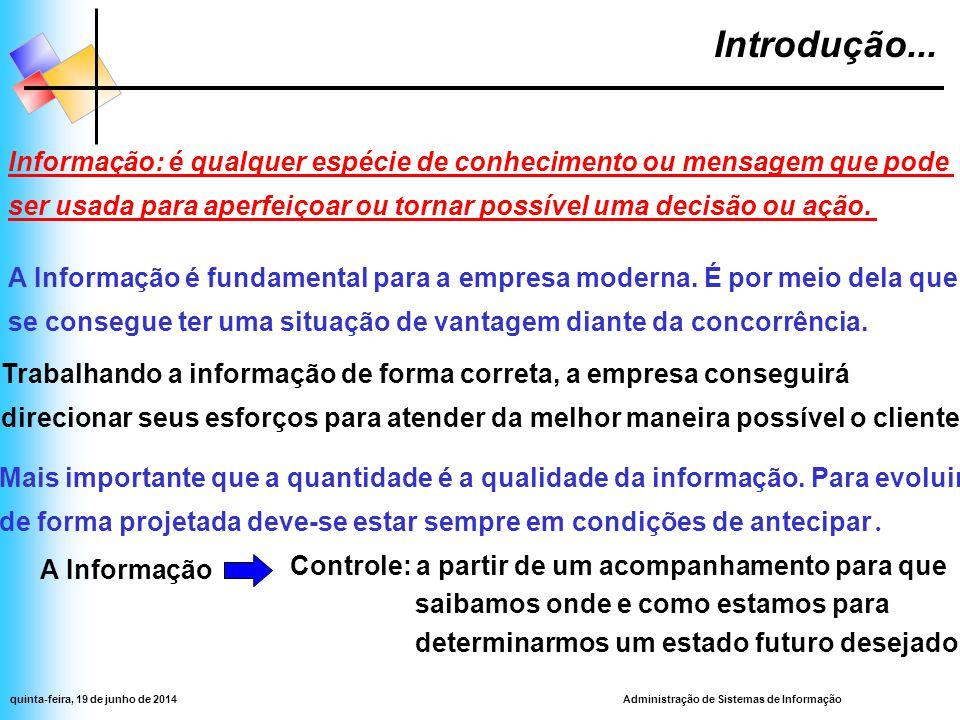 Administração de Sistemas de Informaçãoquinta-feira, 19 de junho de 2014  É preciso criar um sistema de informação capaz de definir formalmente quais informações devem girar dentro da empresa.