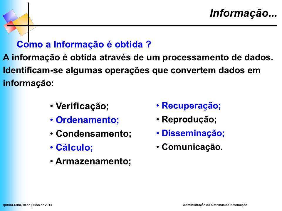 Administração de Sistemas de Informaçãoquinta-feira, 19 de junho de 2014 Informação...