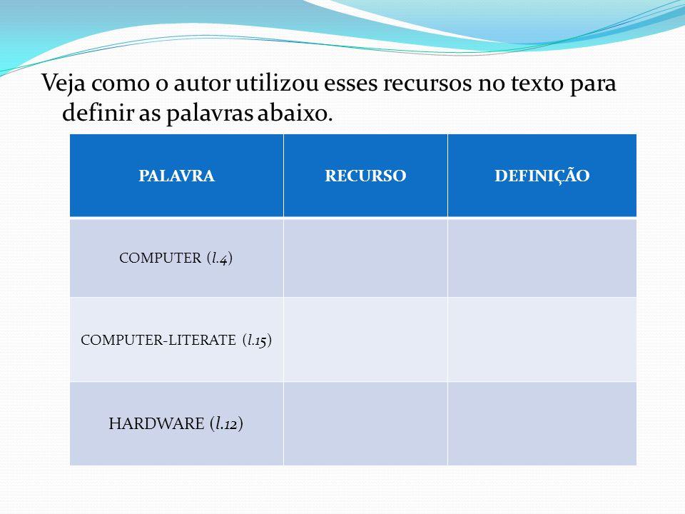Veja como o autor utilizou esses recursos no texto para definir as palavras abaixo. PALAVRARECURSODEFINIÇÃO COMPUTER (l.4) COMPUTER-LITERATE (l.15) HA