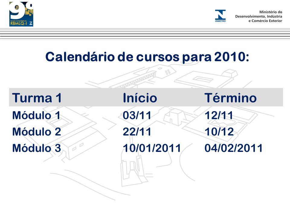 Calendário de cursos para 2010: Turma 1InícioTérmino Módulo 103/1112/11 Módulo 222/1110/12 Módulo 310/01/201104/02/2011