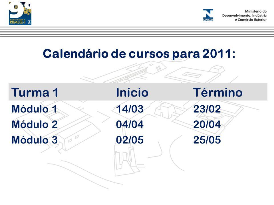 Calendário de cursos para 2011: Turma 1InícioTérmino Módulo 114/0323/02 Módulo 204/0420/04 Módulo 302/0525/05