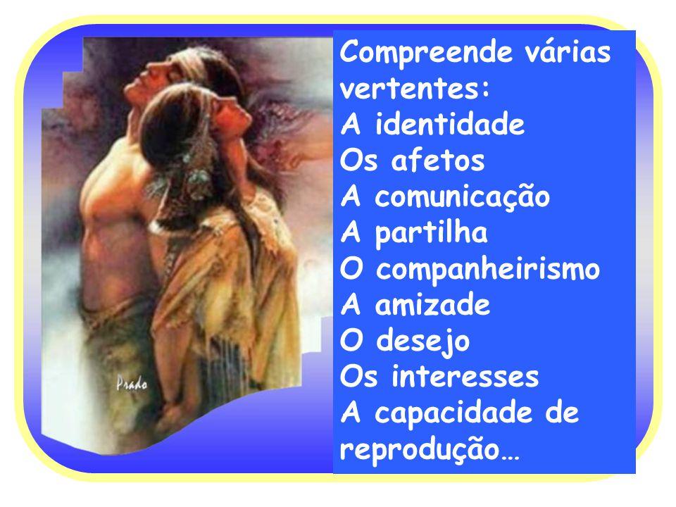 Compreende várias vertentes: A identidade Os afetos A comunicação A partilha O companheirismo A amizade O desejo Os interesses A capacidade de reprodu