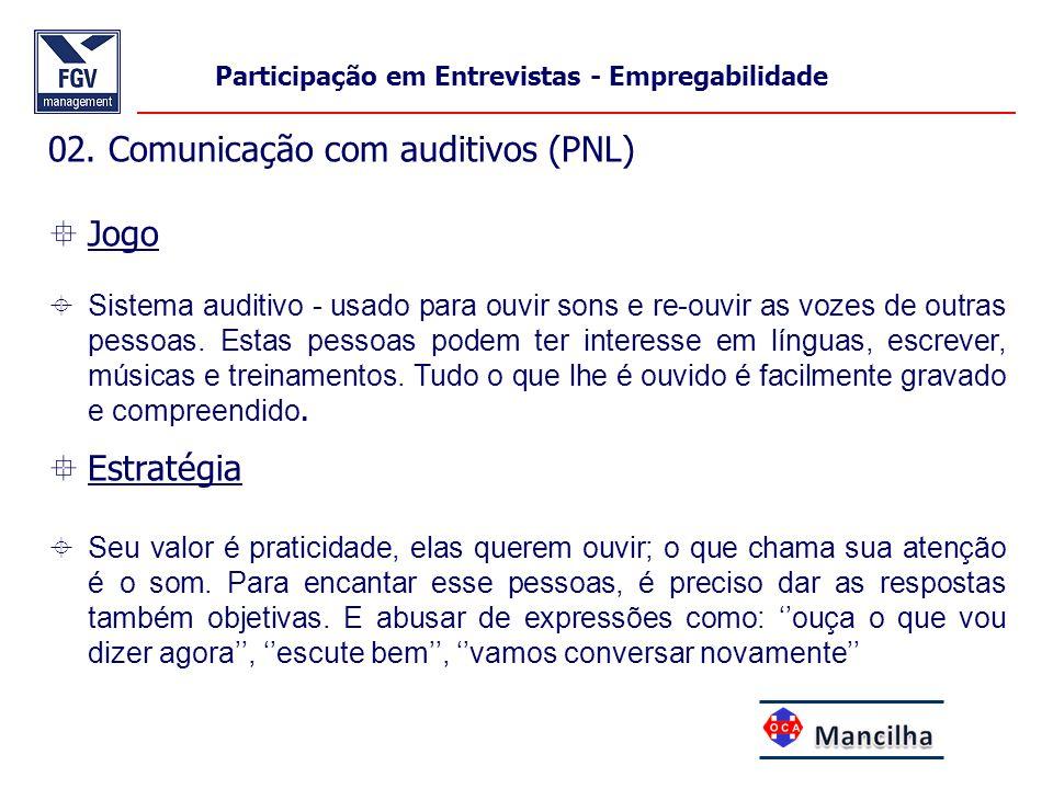 02. Comunicação com auditivos (PNL)  Jogo  Sistema auditivo - usado para ouvir sons e re-ouvir as vozes de outras pessoas. Estas pessoas podem ter i
