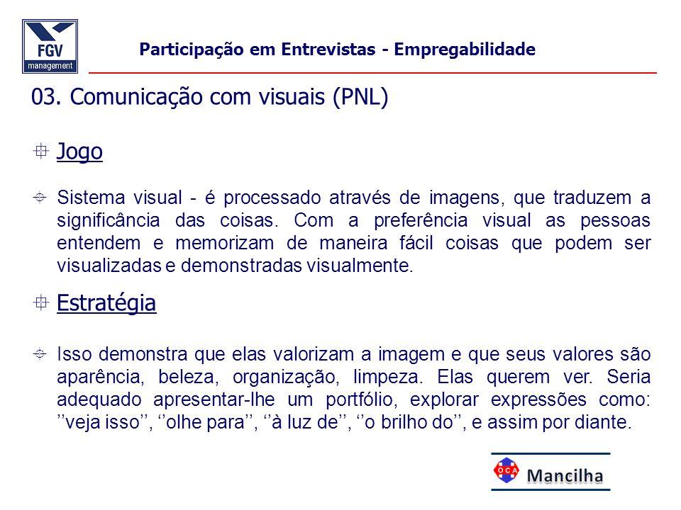 03. Comunicação com visuais (PNL)  Jogo  Sistema visual - é processado através de imagens, que traduzem a significância das coisas. Com a preferênci
