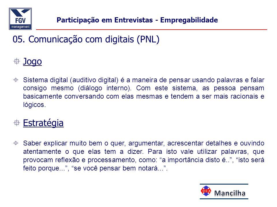 05. Comunicação com digitais (PNL)  Jogo  Sistema digital (auditivo digital) é a maneira de pensar usando palavras e falar consigo mesmo (diálogo in