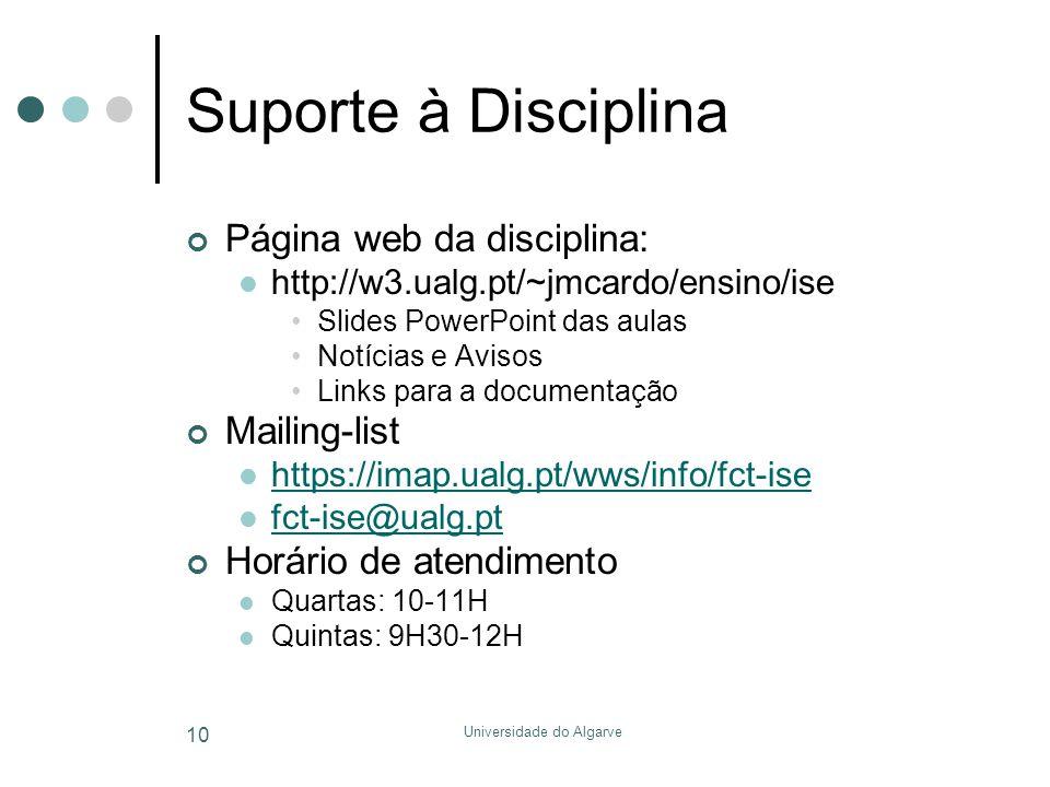 Universidade do Algarve 10 Suporte à Disciplina Página web da disciplina:  http://w3.ualg.pt/~jmcardo/ensino/ise •Slides PowerPoint das aulas •Notícias e Avisos •Links para a documentação Mailing-list  https://imap.ualg.pt/wws/info/fct-ise https://imap.ualg.pt/wws/info/fct-ise  fct-ise@ualg.pt fct-ise@ualg.pt Horário de atendimento  Quartas: 10-11H  Quintas: 9H30-12H