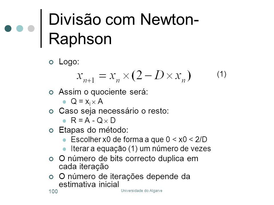 Universidade do Algarve 100 Divisão com Newton- Raphson Logo: Assim o quociente será:  Q = x i  A Caso seja necessário o resto:  R = A - Q  D Etap