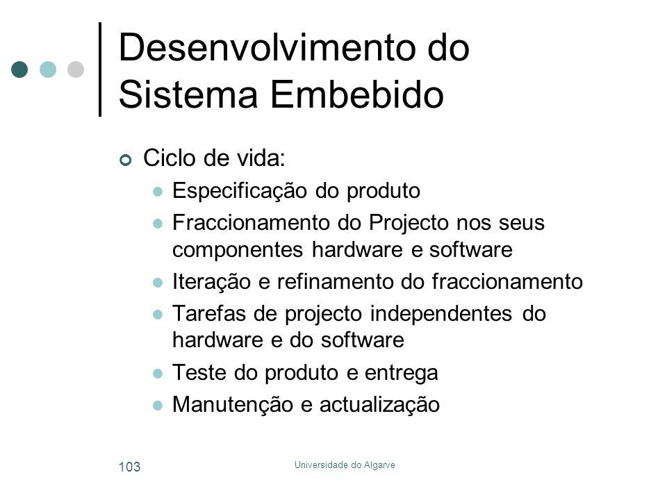 Universidade do Algarve 103 Desenvolvimento do Sistema Embebido Ciclo de vida:  Especificação do produto  Fraccionamento do Projecto nos seus componentes hardware e software  Iteração e refinamento do fraccionamento  Tarefas de projecto independentes do hardware e do software  Teste do produto e entrega  Manutenção e actualização