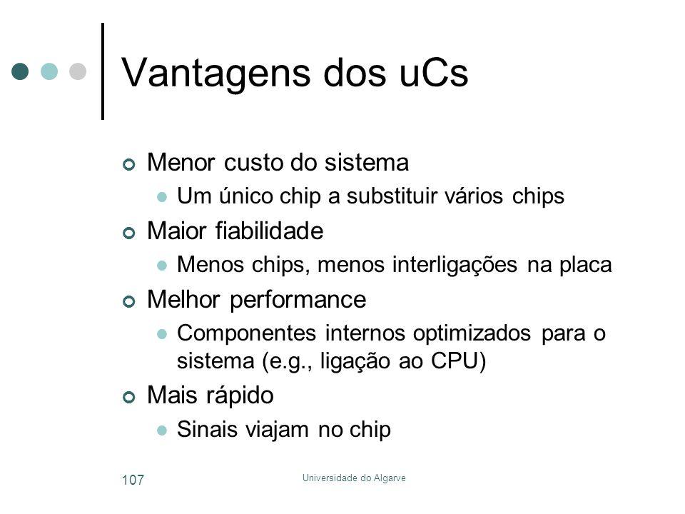 Universidade do Algarve 107 Vantagens dos uCs Menor custo do sistema  Um único chip a substituir vários chips Maior fiabilidade  Menos chips, menos interligações na placa Melhor performance  Componentes internos optimizados para o sistema (e.g., ligação ao CPU) Mais rápido  Sinais viajam no chip