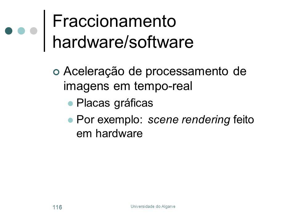 Universidade do Algarve 116 Fraccionamento hardware/software Aceleração de processamento de imagens em tempo-real  Placas gráficas  Por exemplo: scene rendering feito em hardware