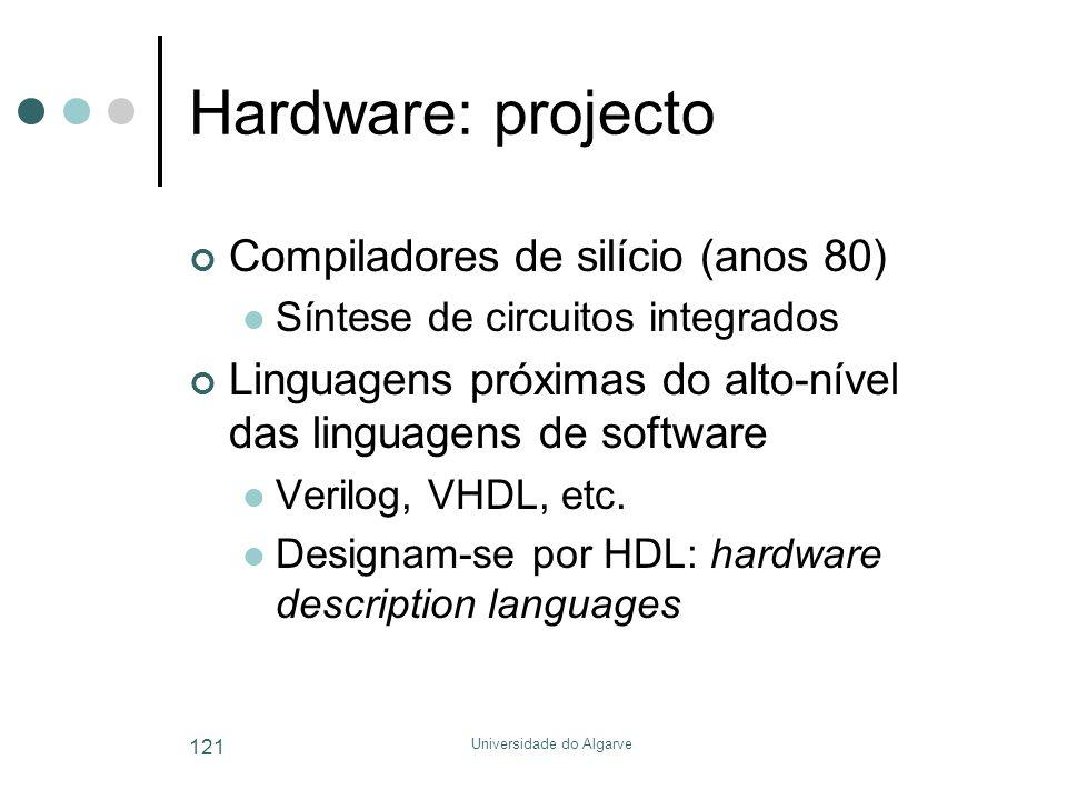 Universidade do Algarve 121 Hardware: projecto Compiladores de silício (anos 80)  Síntese de circuitos integrados Linguagens próximas do alto-nível das linguagens de software  Verilog, VHDL, etc.