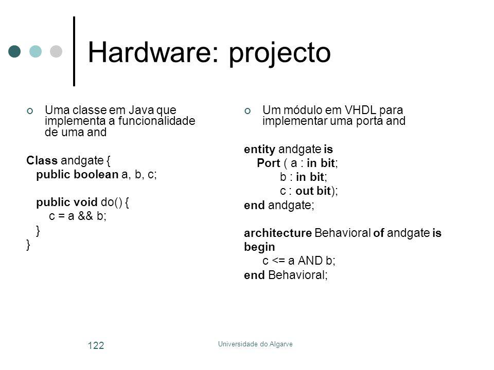 Universidade do Algarve 122 Hardware: projecto Uma classe em Java que implementa a funcionalidade de uma and Class andgate { public boolean a, b, c; p