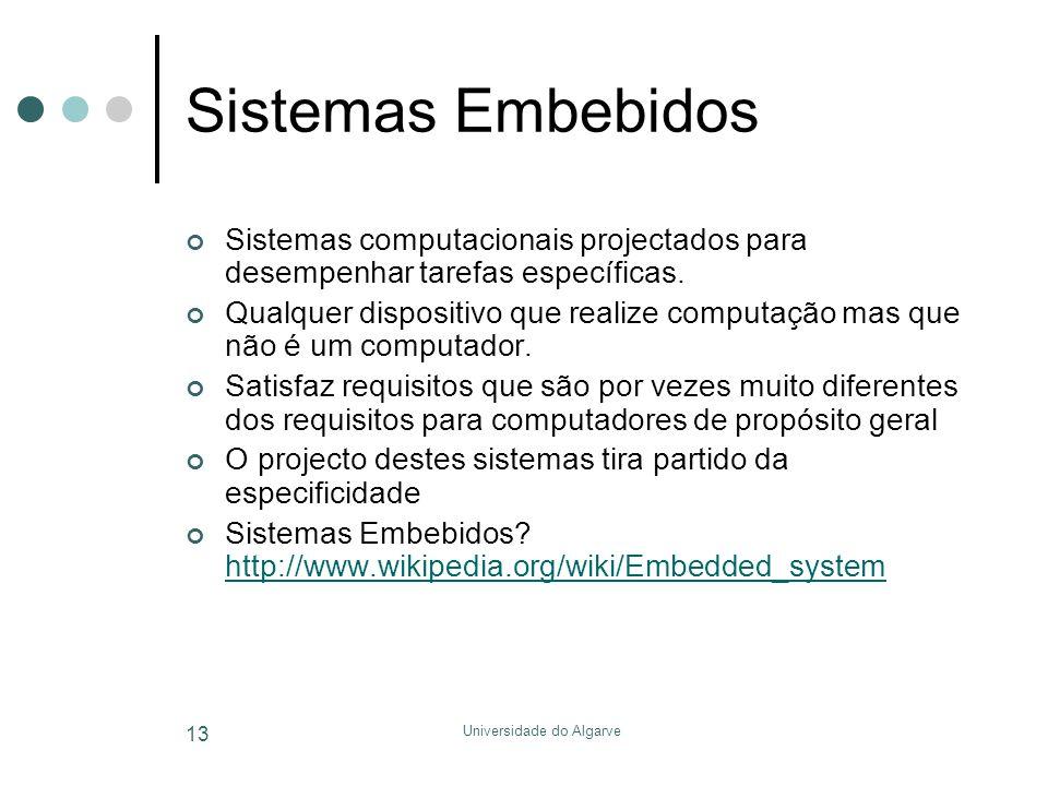 Universidade do Algarve 13 Sistemas Embebidos Sistemas computacionais projectados para desempenhar tarefas específicas. Qualquer dispositivo que reali