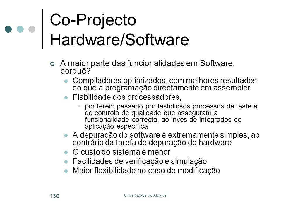 Universidade do Algarve 130 Co-Projecto Hardware/Software A maior parte das funcionalidades em Software, porquê?  Compiladores optimizados, com melho