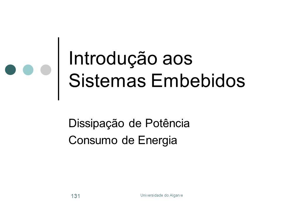 Universidade do Algarve 131 Introdução aos Sistemas Embebidos Dissipação de Potência Consumo de Energia