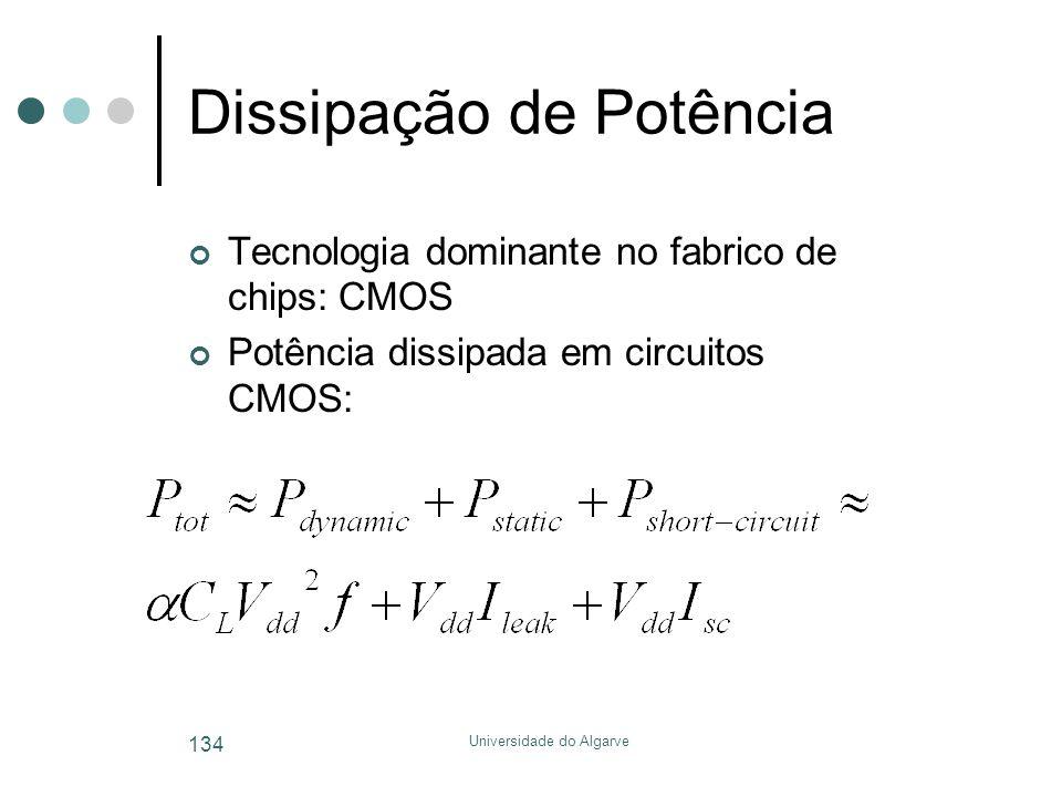 Universidade do Algarve 134 Dissipação de Potência Tecnologia dominante no fabrico de chips: CMOS Potência dissipada em circuitos CMOS:
