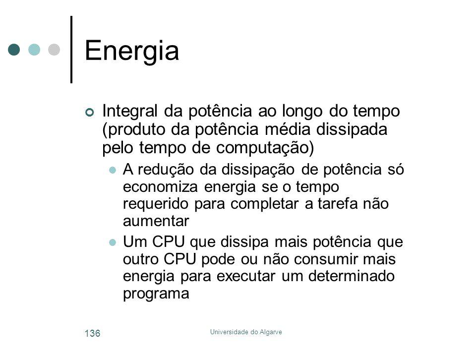 Universidade do Algarve 136 Energia Integral da potência ao longo do tempo (produto da potência média dissipada pelo tempo de computação)  A redução