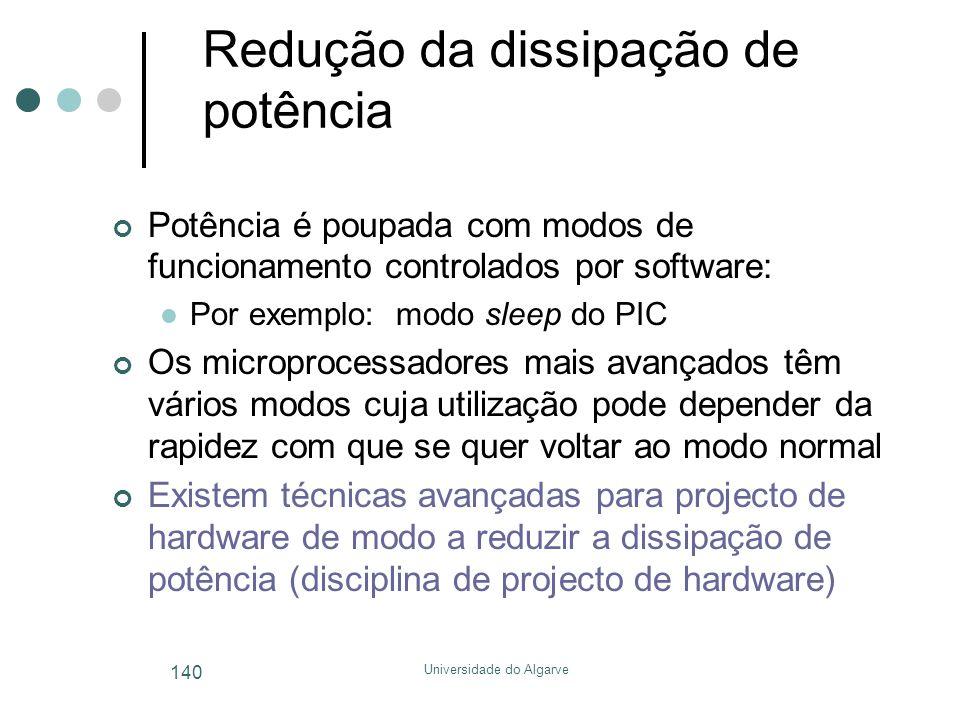 Universidade do Algarve 140 Redução da dissipação de potência Potência é poupada com modos de funcionamento controlados por software:  Por exemplo: m